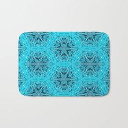 Black Snowflakes stars ornament on Blue Bath Mat