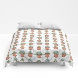 Pastel Succulents in Terra Cotta Flower Pots Comforters
