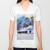 buffalo V-neck T-shirts featuring Buffalo Blast by John Turck