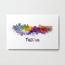 Tallinn skyline in watercolor Metal Print