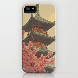Temple above the cherry blossoms iPhone Case