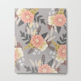 Pink and Gray Floral Pattern Metal Print