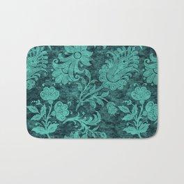 Burgundy Turquoise Velvet Floral Pattern 10 Bath Mat