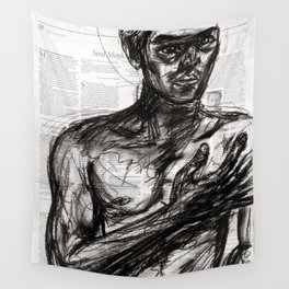 The Pledge - Charcoal on Newspaper Figure Drawing Wall Tapestry