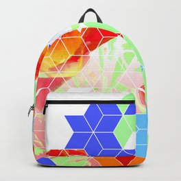 Pop Floral Cube Pattern 2  #fashion #pattern #lifestyle Backpack