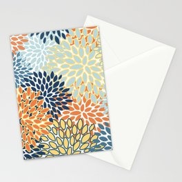 Modern, Floral Prints, Orange, Blue, Yellow Stationery Cards