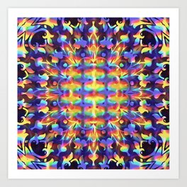 Trippy Hippy Series : Rainbow Fire Art Print