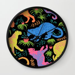 Jungle Cat Party in Black + Neon Wall Clock