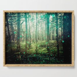 Magical Green Forest - Nature Photography Serving Tray