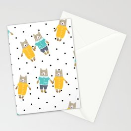 Cute bears in dotted background Stationery Cards