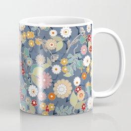 Colorful flowers on a denim background. Coffee Mug