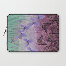 butterflies dance in purple skies above irises Laptop Sleeve
