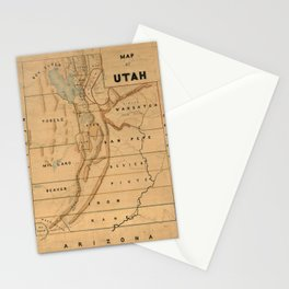 Map of Utah 1871 Stationery Cards