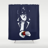 moriarty Shower Curtains featuring Nothing left unsolved by Hoborobo