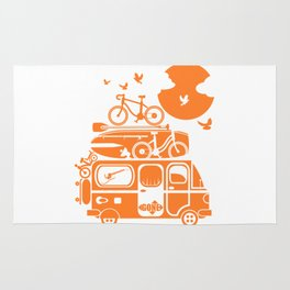 Funny family vacation camper Rug