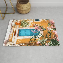 Oh The Places You Will Go, Summer Travel Spain Greece Painting, Architecture Building Bougainvillea Rug
