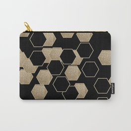 contemporary preppy scandinavian minimalist Black and gold hexagon Carry-All Pouch