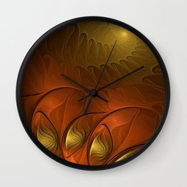Fantasy in Copper and Gold Wall Clock