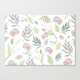Simple and stylized flowers Canvas Print