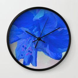 A Double Blue Hibiscus Wall Clock