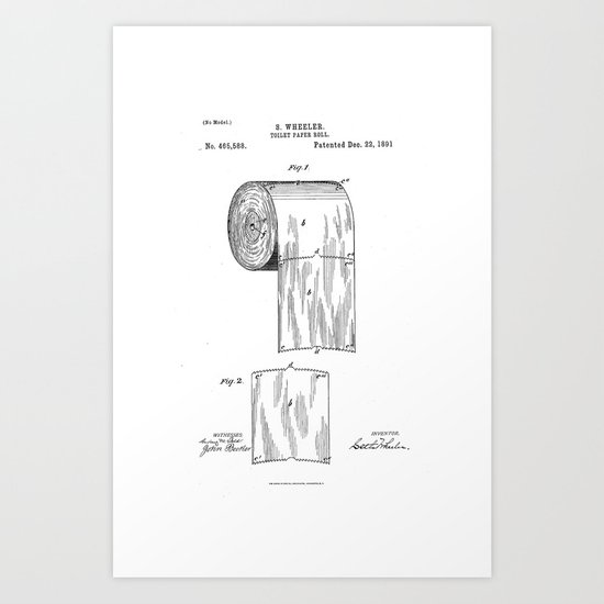 Toilet Paper Patent Drawing Art Print By Patent Drawing