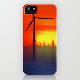 Wind Farms in the Sunset (Digital Art) iPhone Case