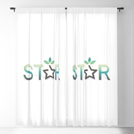 Star reward style and star text in green Blackout Curtain