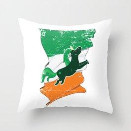 Distressed Irish Flag Unicorn St Patricks Throw Pillow