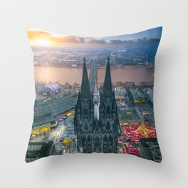 Sunset at the Rhine Throw Pillow