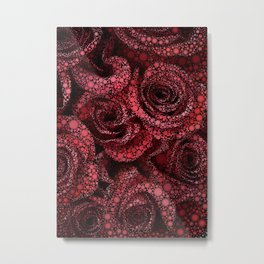 Red Roses Circle Mosaic Design Metal Print