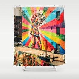 Street Art Mural, Times Square Kiss Recreation Shower Curtain