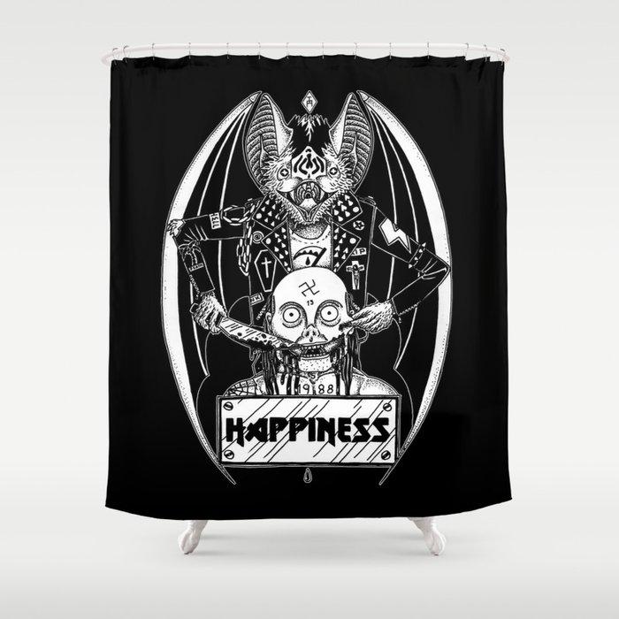 HAPPINESS (horror bat) Shower Curtain