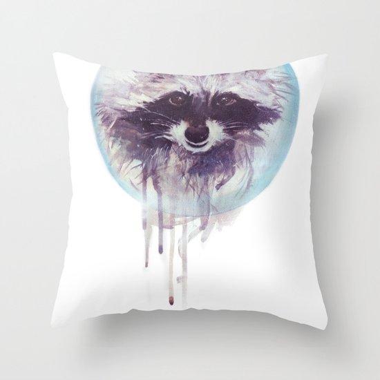 Hello Raccoon! Throw Pillow
