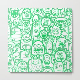 Doodle Monsters And Aliens Green White Pattern Metal Print