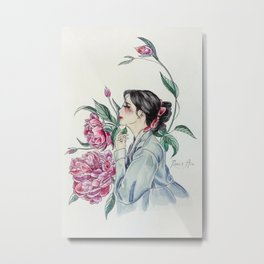 Peonies (Hanbok girls) Watercolor Metal Print