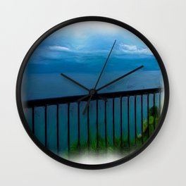 view of the infinite blue sea oil painting Wall Clock