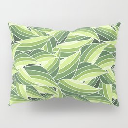 GREENERY LEAVES W  (abstract flowers nature) Pillow Sham
