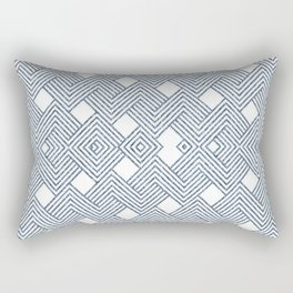 Blue Denim and White Abstract Rectangular Pillow