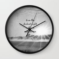 les miserables Wall Clocks featuring Les Miserables Quote Victor Hugo by KimberosePhotography
