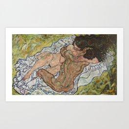 The Hug by Egon Schiele Art Print