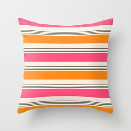 Stripes and Lines pink and orange Throw Pillow