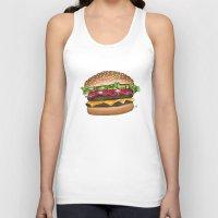 junk food Tank Tops featuring junk food - burger by Bleachydrew