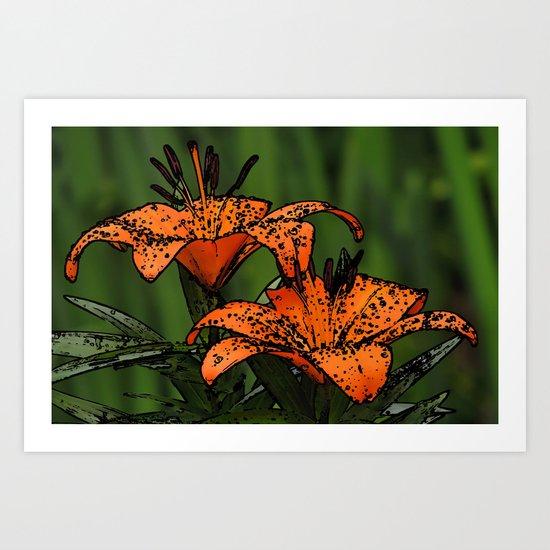 Cartoon Lillies Art Print