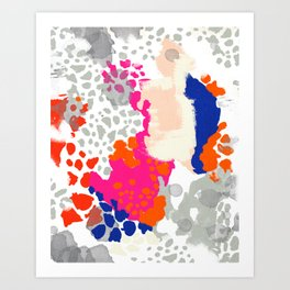Mica - Abstract painting in modern fresh colors navy, orange, pink, cream, white, and gold Art Print