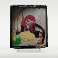 tooth Shower Curtains featuring Tooth Fairy by Jorgenson Art Syndicate
