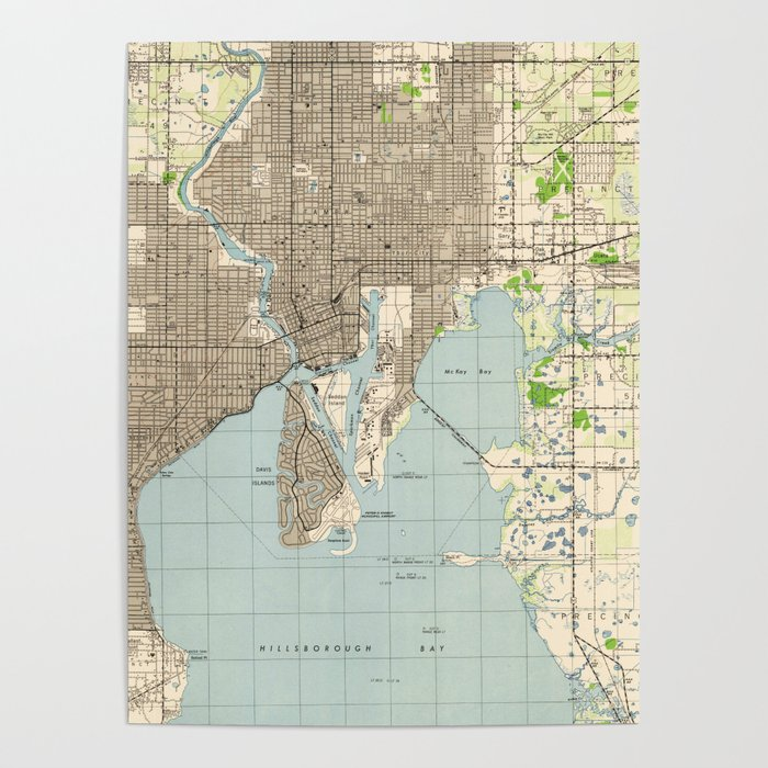 Vintage Map of Tampa Florida (1944) Poster by bravuramedia