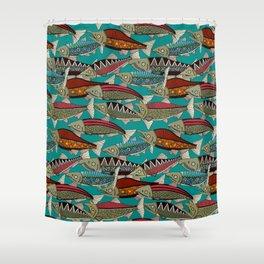 Alaskan salmon teal Shower Curtain