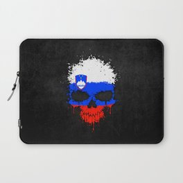 Flag of Slovenia on a Chaotic Splatter Skull Laptop Sleeve
