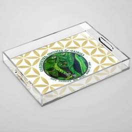 Gnome Fairy Golden Flower of Life Acrylic Tray