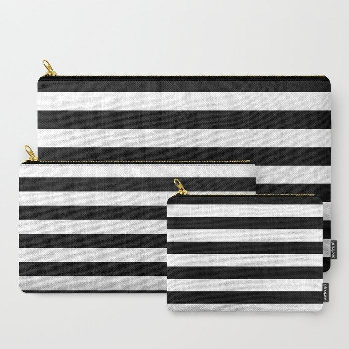 Black White Stripe Minimalist Carry-All Pouch